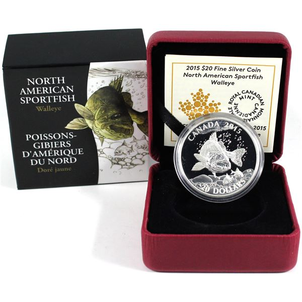 2015 Canada $20 North American Sportfish - Walleye Fine Silver Coin. (TAX Exempt)