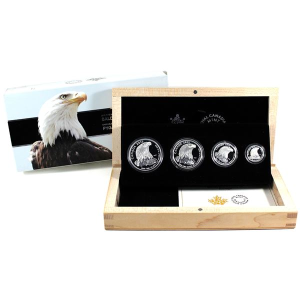 2015 Canada Bald Eagle Fractional Fine Silver 4-coin Set (Capsules are scuffed & sleeve has some res