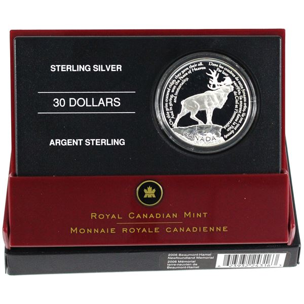 2006 Canada $30 National War Memorials - Beaumont-Hamel Sterling Silver Coin.