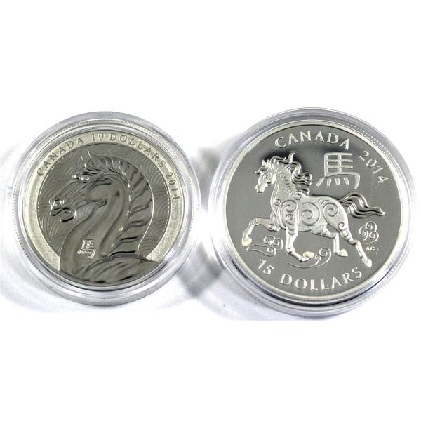 2014 Canada $10 Year of the Horse & 2014 $15 Zodiac Year of the Horse Fine Silver Coins Encapsulated