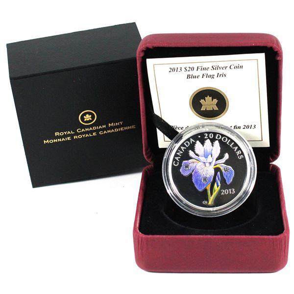 2013 Canada $20 Swarovski Crystals - Blue Flag Iris Fine Silver Coin.