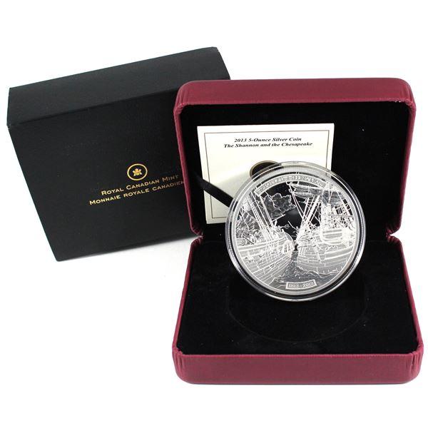 2013 Canada $50 HMS Shannon & USS Chesapeake 5oz Fine Silver Coin. TAX Exempt