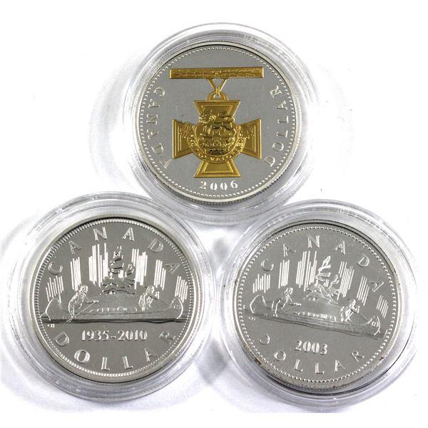 2003 Coronation Commemorative, 2006 Gold Plated Victoria Cross & 1935-2010 Voyageur Commemorative Ca