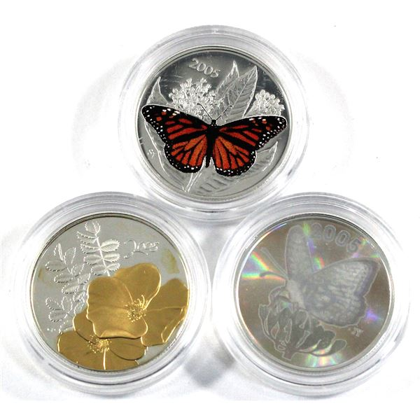 2005 Canada 50-cent Butterfly - Great Spangled Fritillary & 2005 Monarch & 2005 50-cent Canadian Flo