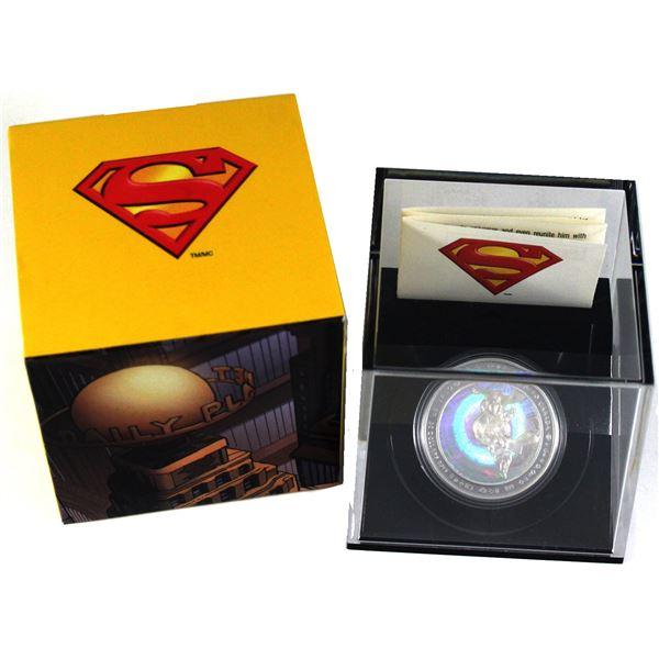 2013 Canada $20 Superman & Metropolis Fine Silver Hologram Coin (Sleeve has a pen mark). TAX Exempt