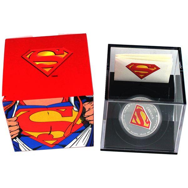 2013 Canada $20 Superman's Shield Fine Silver Coin (Sleeve has light wear). TAX Exempt