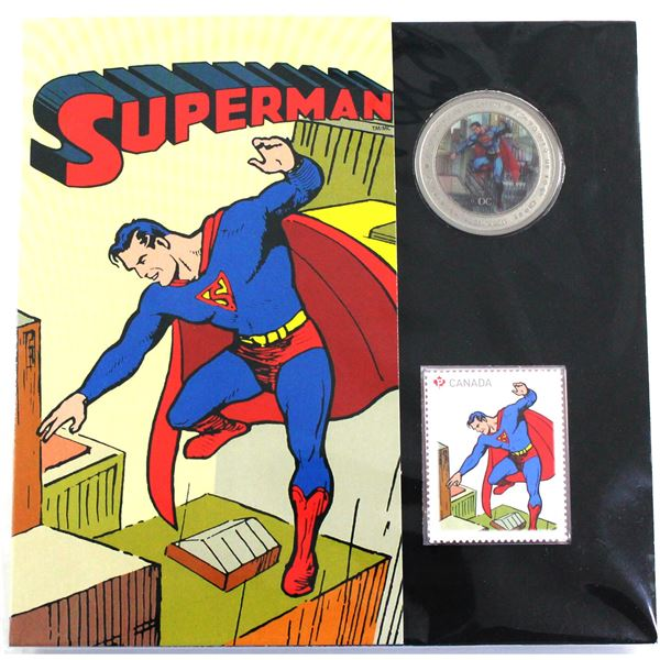 2013 Canada 50-cent Superman - Then and Now Lenticular Coin & Stamp Set.