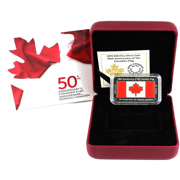 2015 $50 50th Anniversary Canadian Flag Fine Silver Rectangular Coin. TAX Exempt