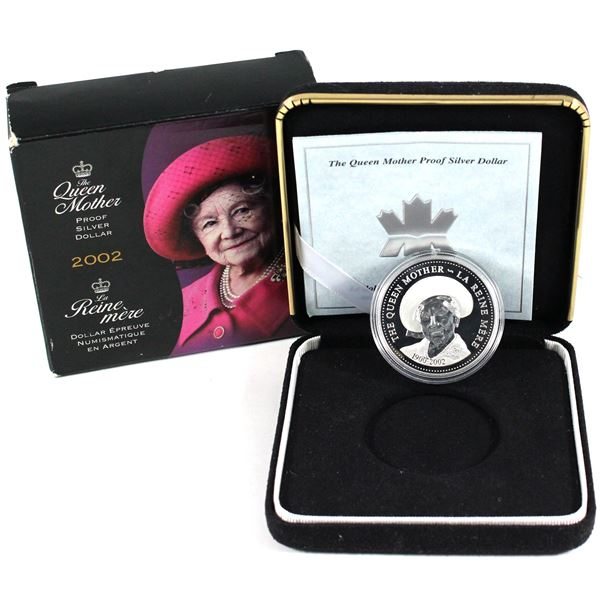 2002 Canada Queen Mother Proof Sterling Silver Dollar (Capsule is scratched & sleeve is worn).