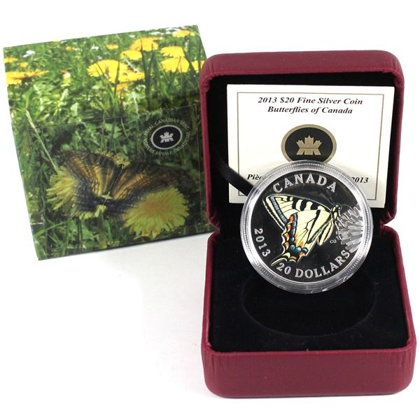 2013 $20 Butterflies of Canada - Canadian Tiger Swallowtail Fine Silver Coin. TAX Exempt