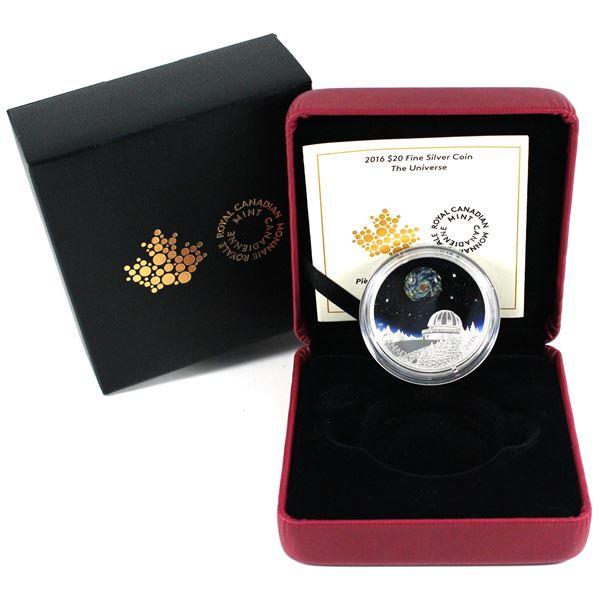2016 Canada $20 The Universe Glass Fine Silver Coin.