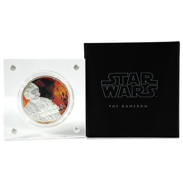 2016 Niue $2 Star Wars The Force Awakens - Poe Dameron 1oz Fine Silver Coloured Coin. TAX Exempt
