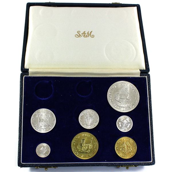 1964 South Africa Short Proof Set with 7 of 9 Coins in Original South Africa Mint Display Case. Very
