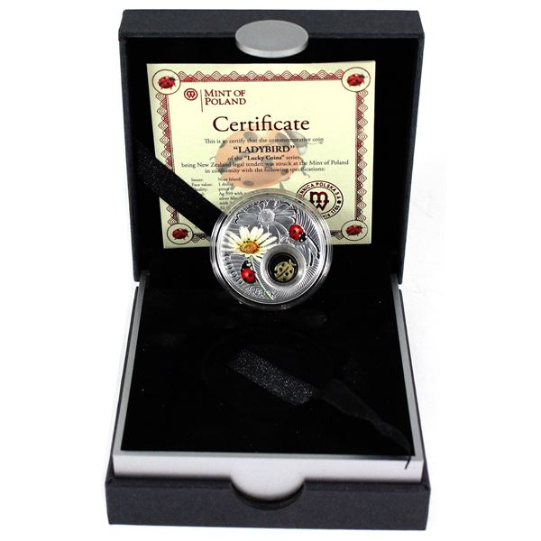 2014 Niue $1 Symbols of Luck Series - Ladybird Fine Silver Proof Coin with 24kt Gold Plated Filigree