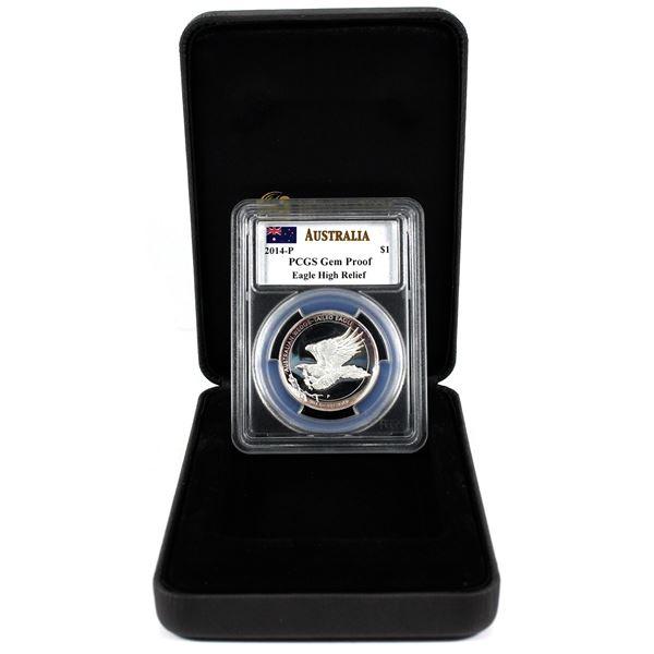 2014 Australia Wedge-Tailed Eagle High Relief 1oz .999 Fine Silver PCGS Certified Gem Proof in Origi