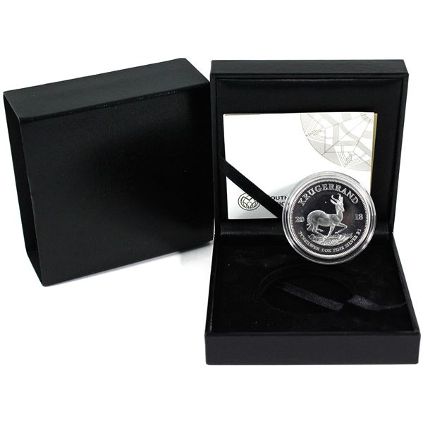 2018 South Africa 1oz Fine Silver Proof Krugerrand in Original South African Mint Display Box with C