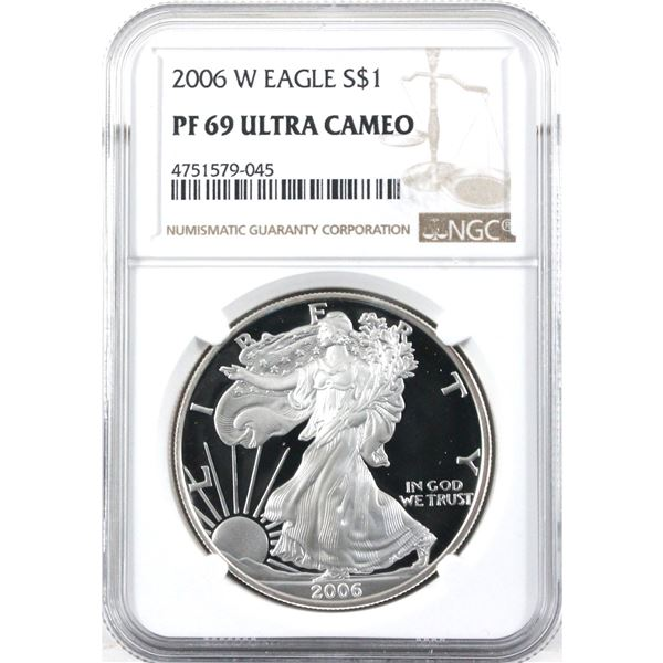 2006-W USA 1oz .999 Fine Silver Eagle NGC Certified PF-69 Ultra Cameo. (TAX Exempt)