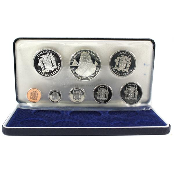 1974 Jamaica 8-coin Proof Set in Original Packaging with COA from the Franklin Mint. 1.878oz fine si