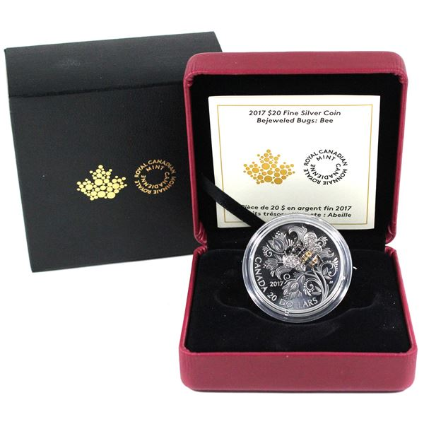 2017 Canada $20 Bejeweled Bugs - Bee Fine Silver Coin.