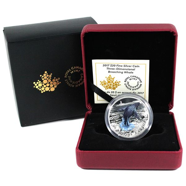 2017 Canada $20 3D Breaching Whale Fine Silver Coin. (TAX Exempt)