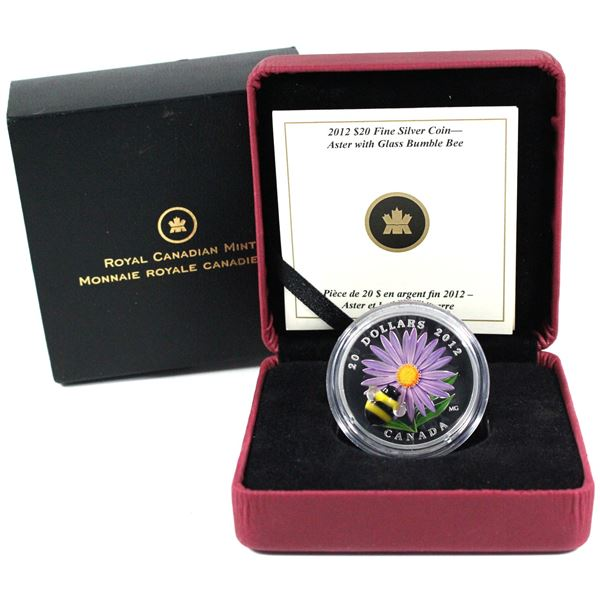 2012 Canada $20 Aster with Venetian Glass Bumble Bee Fine Silver Coin.