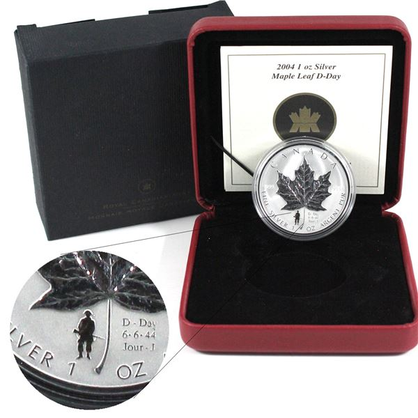 2004 Canada $5 D-Day Privy Mark Fine Silver Maple Leaf. (TAX Exempt)