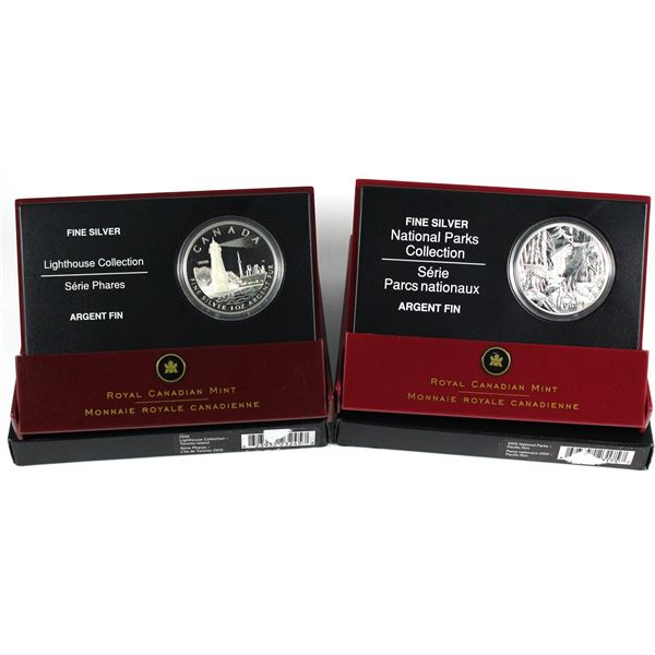 2005 Canada $20 Toronto Island Lighthouse & 2005 $20 National Parks - Pacific Rim Fine Silver Coins