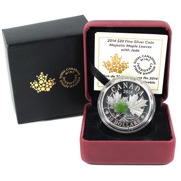 2014 Canada $20 Majestic Maple Leaves with Jade Fine Silver Coin.