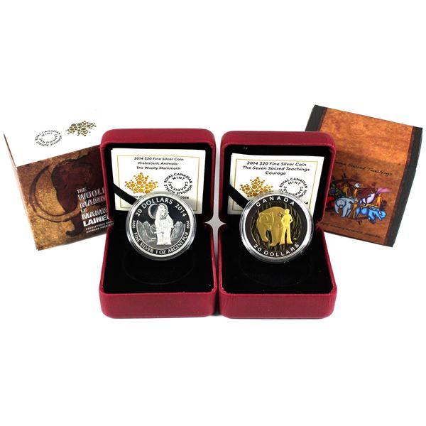 2014 Canada $20 Seven Sacred Teachings - Courage & 2014 $20 Prehistoric Animals - The Woolly Mammoth