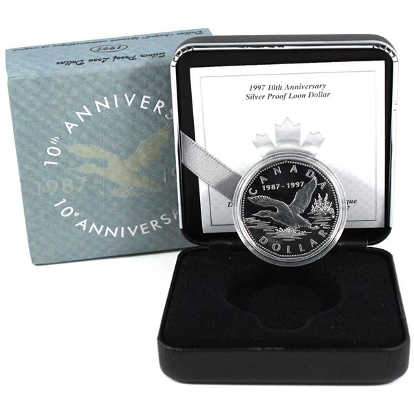 1997 Canada $1 10th Anniversary of the Loon Sterling Silver Proof Flying Loon Coin.
