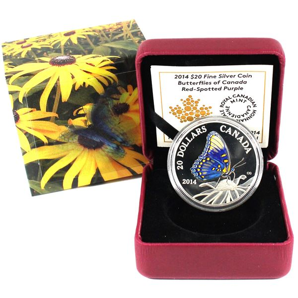 2014 $20 Butterflies of Canada - Red-Spotted Purple Fine Silver Coin. (TAX Exempt)