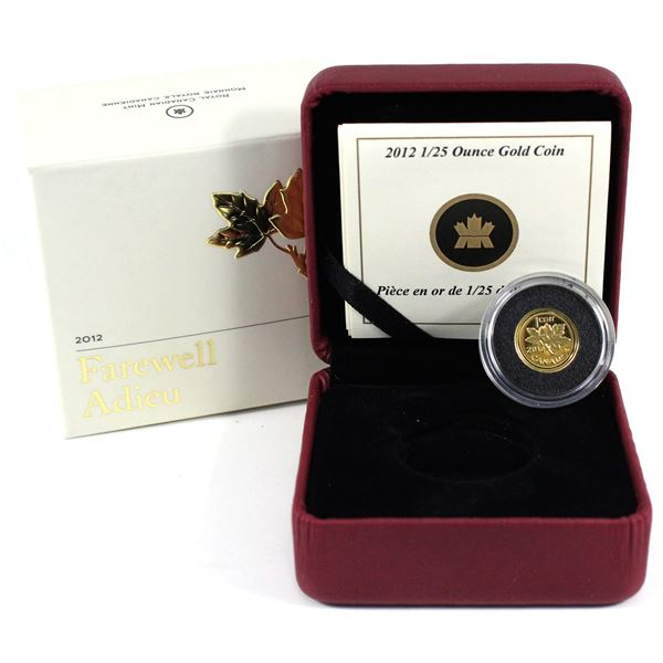 2012 Canada 1-cent Farewell to the Penny 1/25oz Fine Gold Coin. (TAX Exempt)