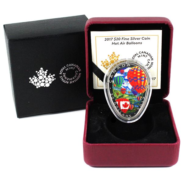 2017 Canada $20 Hot Air Balloons Fine Silver Coin (Capsule broken & 2 toning spots on rim of coin).