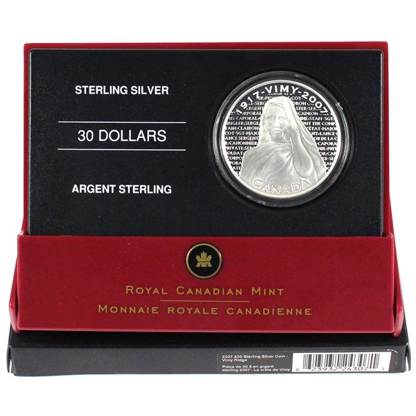 2007 Canada $30 National War Memorials - Vimy Ridge Memorial Sterling Silver Coin.