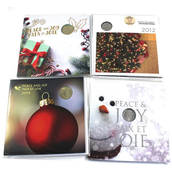 2011, 2013, 2014 & 2018 Canada Holiday Gift Sets with Commemorative 25-cent or Loon $1. 4pcs