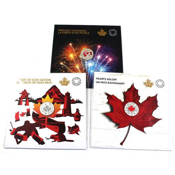 2017 Canada $3 Heart of our Nation, 2017 $5 Proudly Canadian Glow-in-the-Dark & 2018 $5 Hearts Aglow