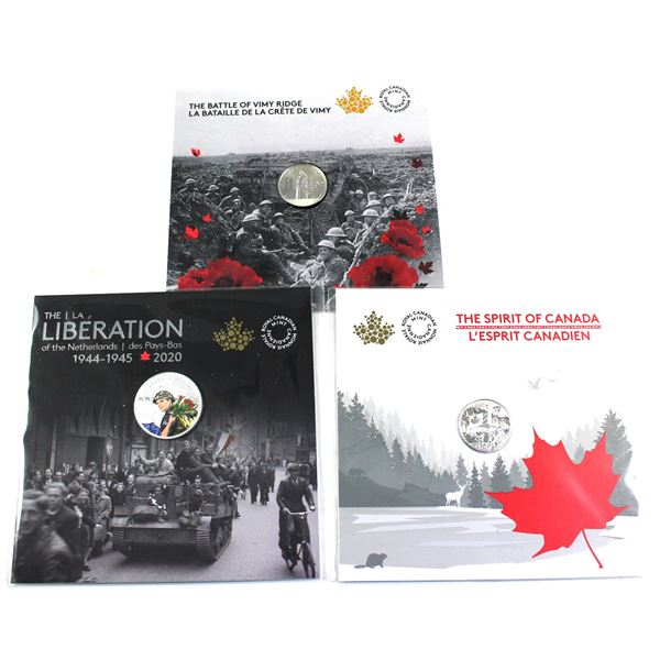 2017 Canada $3 The Spirit of Canada, 2017 $3 100th Anniversary of the Battle of Vimy Ridge & 2020 $1