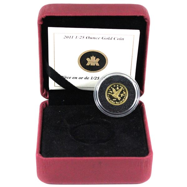 2011 Canada 50-cent Canada Geese 1/25oz Fine Gold Coin Encapsulated in Red RCM Display Box with COA.