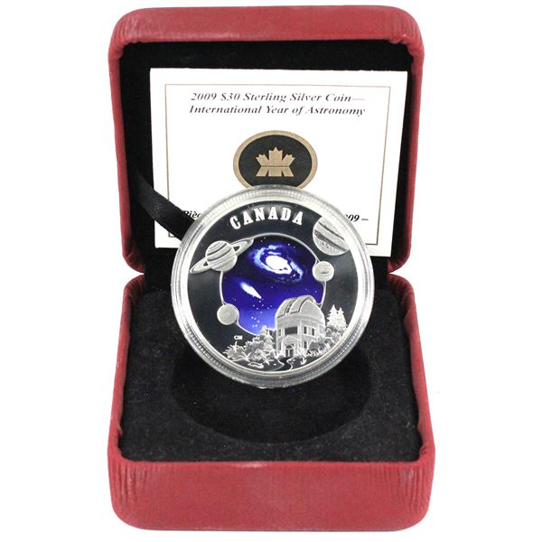 2009 Canada $30 International Year of Astronomy Sterling Silver Coin Encapsulated in Red RCM Display
