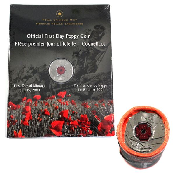 2004 Canada Official First Day Poppy 25-cent in Sealed Plastic & 2004 Poppy 25-cent Special Wrap Rol