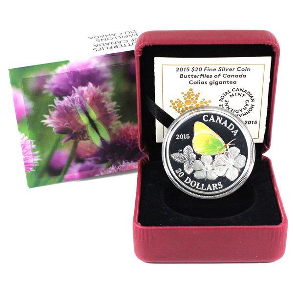 2015 $20 Butterflies of Canada - Giant Sulphur Fine Silver Coin. TAX Exempt