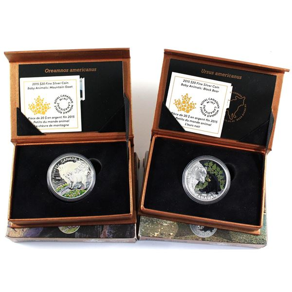 2015 Canada $20 Baby Animals Fine Silver Coin and Stamp Sets - The Black Bear & The Mountain Goat (C