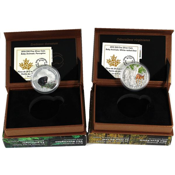 2015 & 2016 Canada $20 Baby Animals Fine Silver Coin and Stamp Sets - 2015 The Deer Fawn & 2016 The
