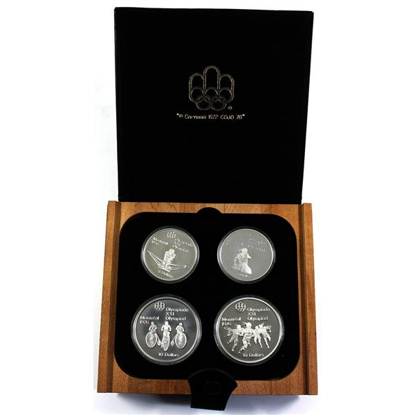 1976 Montreal Olympics 4-coin $5 & $10 Sterling Silver Set Series III - Early Canadian Sports. 4.34o