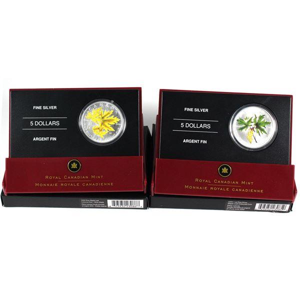 2005 & 2006 Canada 1oz Coloured Fine Silver Maples (2006 has light toning spots). 2pcs (TAX Exempt)