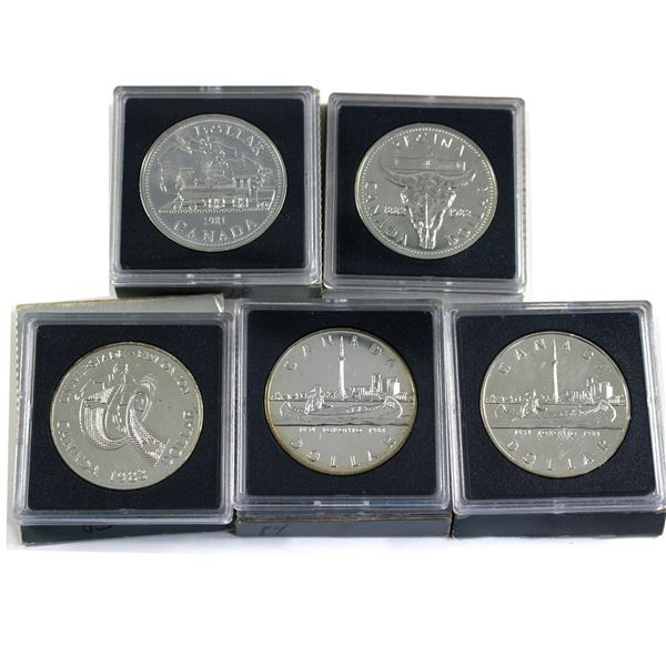 1981 to 1984 Canada Brilliant uncirculated silver Dollars. Lot includes 2x 1984. Each coin comes in