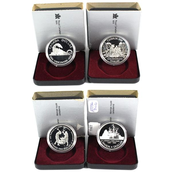 1986-1989 Canada Commemorative Proof Silver Dollars with all original packaging. packaging contains