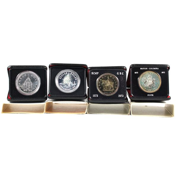 1971,1973,1975 & 1976 Canada Commemorative Specimen silver Dollars. packaging contains various imper