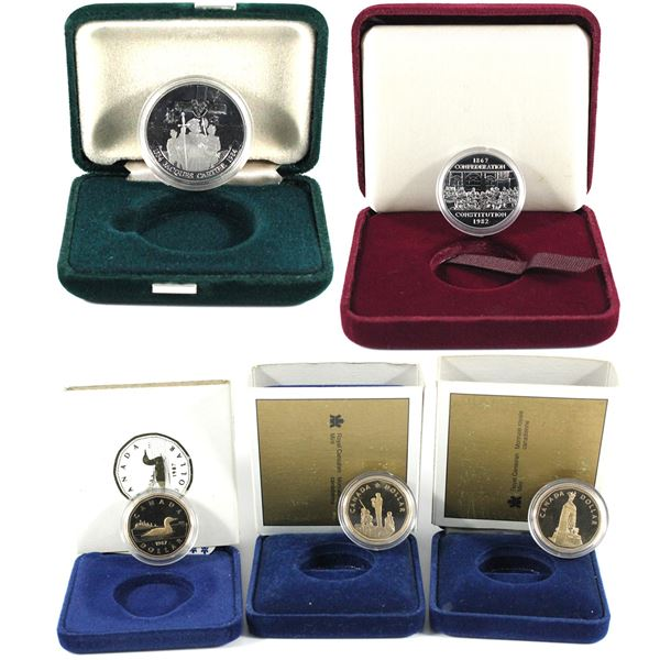 lot of 5x Canada commemorative Dollars: 1982 Constitution, 1984 Cartier, 1987 Proof Loon, 1994 proof