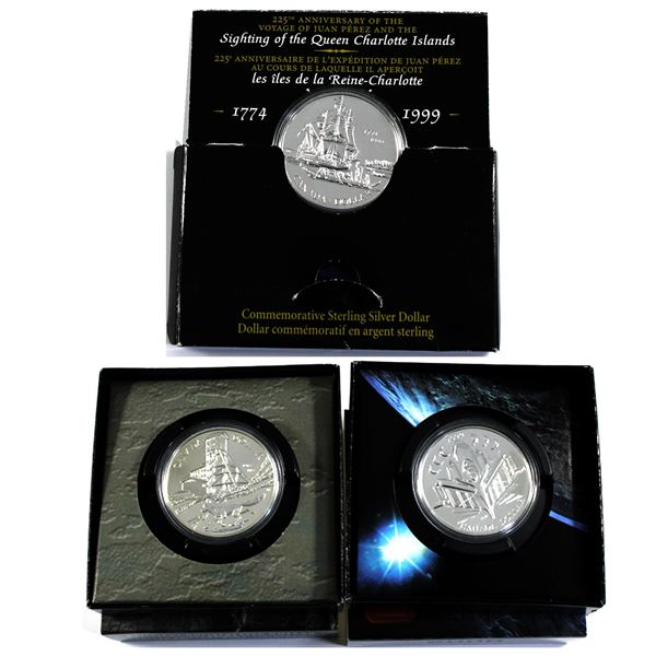 1999,2000 & 2003 Canada Brilliant Uncirculated Silver Dollars. Coins comes encapsulated with display